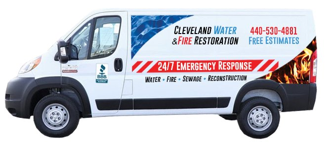 cleveland water & fire restoration van
