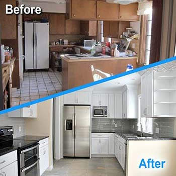 Kitchen fire restoration before and after picture
