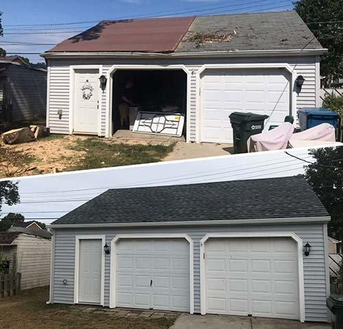 storm damage restoration to garage before and after